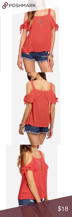 CUTE COLD SHOULDER TOP *NWOT* Shoulder ties, ruffle in front and back. Short sleeves. Light red-orange color. Size Large.  I will do my best to answer questions prior to purchase. I accept reasonable offers and discount for bundles. I will consider trades on Poshmark. Please check out my closet for great deals on other other premium designer items. Happy Poshing! Tops