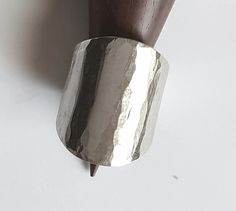tube hammered sterling silver ring