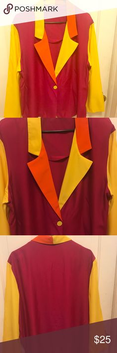 """Color Block Silk Vintage Blazer Great Condition. This blazer does have shoulder pads that can be removed. Yellow, Pink, and Orange are the colors of this blazer. Measurements taking laying flat. Armpit to Armpit 24"""", Length 29"""" fits up to 1x. Please review measurements before purchasing Vintage Jackets & Coats Blazers"""