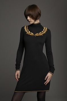 gold leaf laurel, fabric paint or embroidered black dress