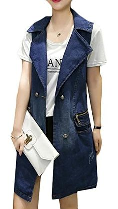 d9229f2a88be38 Fulok Women s Comfy 2 Button Casual Washed Solid Color Denim Vest Coat Blue  XX-Large