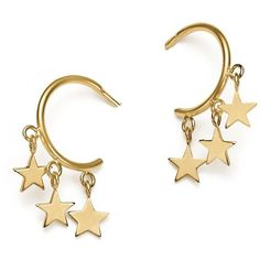 Zoe Chicco 14K Yellow Gold Itty Bitty Stars Hoop Earrings (5.034.350 IDR) ❤ liked on Polyvore featuring jewelry, earrings, gold jewellery, 14 karat gold jewelry, 14k yellow gold earrings, star jewelry and gold earrings