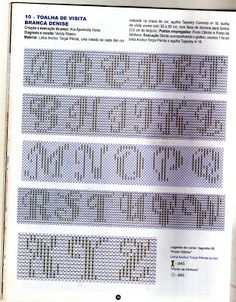 Fabinha Graphics For Embroidery: Oitinho Point Crochet Alphabet, Cross Stitch Alphabet, Cross Stitch Embroidery, Cross Stitch Patterns, Plastic Canvas Letters, Different Lettering, Monks Cloth, Kutch Work, Swedish Weaving