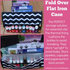 """The Fold Over Flat Iron Case is PERFECT for storing essential oils and supplies! The thermal lining cushions the bottles to prevent breaking. And, they store upright to avoid spills. For essential oil reps, this is a great """"mobile"""" marketing tool for you, as your brochures and business cards fit in the back section. Or, load it up with extra oil bottles for travel. https://www.mythirtyone.com/angeliqueb"""