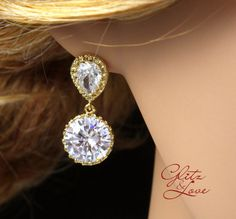 Dainty Bridal Gold Earrings, Teardrop ear post with big round diamond drop, sparkly and stunning, perfect for wedding and special occasion, by GlitzAndLove