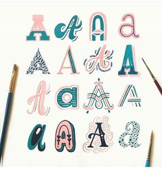 A little late with this week's but that's ok! A is definitely one of my favorite letters! Maybe I'll post some close ups later. Doodle Lettering, Types Of Lettering, Script Lettering, Graffiti Lettering, Lettering Styles, Calligraphy Letters, Typography Letters, Graphic Design Typography, Creative Lettering