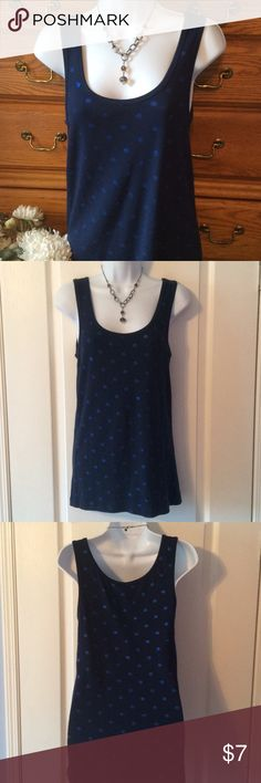 """Cynthia Rowley Navy Adorable Tank W Sparkle Dots Used but still looks good. 57% cotton, 38% modal and 5% spandex.  Has sparkles bright blue dots all of the tank.  Very soft and comfy. Approximately 27"""" in length and when laid flat and measured from armpit to armpit it is 15"""" across, does have great stretch. Cynthia Rowley Tops Tank Tops"""