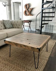 Learn how to build a DIY coffee table? Check our 50 free DIY coffee table plans to build a coffee table for your living room, farmhouse, indoor & outdoor. Coffee Table With Drawers, Coffee Table Plans, Diy Coffee Table, Decorating Coffee Tables, Modern Coffee Tables, Hairpin Leg Coffee Table, Hairpin Legs, Diy Wand, Shanty 2 Chic