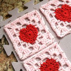 Heart Granny Square Crochet Pattern - Petals to Picots