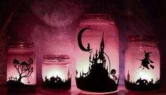 These Halloween silhouette lanterns are much easier to make than I thought. Home and Garden Digest http://www.homeandgardendigest.com/bewitching-halloween-lanterns/