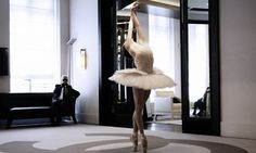 Karl Lagerfeld watching Elena Glurdjidze dance in the costume he designed for her to wear in a special performance of The Dying Swan for the English National Ballet in 2009, to mark the centenary of the founding of the Ballets Russes. #ballet #chanel #fashion
