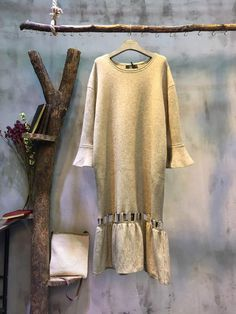 Easy-matching Flare Sleeve Flouncing Knit Dress Hollow Out Wool Dress