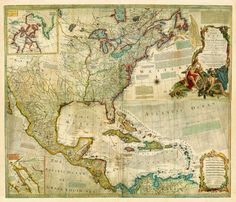 Antique Map of North America showing European Claims, Bowen,1772
