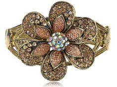 Golden Vintage Like Topaz Swarovski Crystal Ellet Flower Cuff Bangle Bracelet Alilang. $20.99