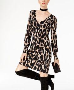 INC Petite Leopard-Print V-Neck Sheath Dress, Created for Macy's - Cheetah P/XS