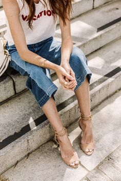 cropped flared jeans, nude sandals, vacation outfit