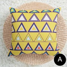 Yellow and white bird throw pillows for living room geometric triangle cushions Grey Couches, Cushion Covers, Linen Fabric, Decorative Pillows, Triangle, Cushions, Throw Pillows, Bird, Living Room