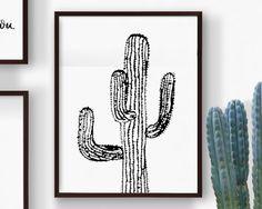 Printable Black Saguaro Cactus, Hand Drawn Cactus, Desert Cactus, Botanical Cactus, Summer Art, Desert Succulent Plant Print