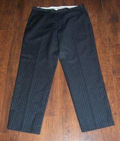NWT NAUTICA CLIPPER MEN'S RELAX FIT FLAT FRONT OIN STRIPE PANTS, SZ 34 x 30 #Nautica #DressFlatFront