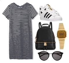 Casual adidas superstar inspired outfit by feerag on Polyvore featuring moda, adidas, Michael Kors, Casio y Yves Saint Laurent