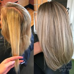 Before and after ashy blonde highlights and lowlights with aveda color. By @lindseymariecolor on instagram