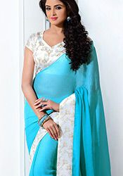 Turquoise Crepe Silk Jacquard Saree