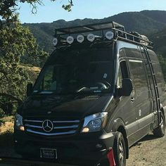 Mercedes Sprinter with Aluminess roof rack and ladder