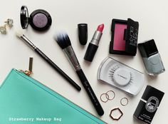Strawberry Makeup bag: 8 beauty staples + giveaway.
