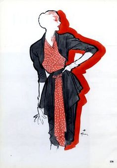 Nina Ricci design illustrated by Rene Gruau, 1946