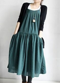 pleated Big pockets Put on a large gallus dress by MaLieb on Etsy by Lieb Ma. reminds me of a jumper i used to wear and love.