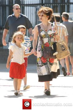 Helena Bonham Carter summer stroll 2013 -- her family is adorable.