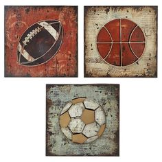Add A Touch Of Athletic Flair To Your Entryway Or Foyer With This Handsome Wall Decor Featuring Sports Ball Motif