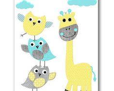 Grey Aqua Yellow Elephant Decor for Nursery Digital Wall Art