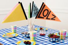 The Pennant Party Box - five festive flags that will add instant pep to your party photos
