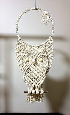Macrame Owl, Macrame Knots, Micro Macrame, Macrame Jewelry, Macrame Wall Hanger, Macrame Wall Hanging Patterns, Macrame Patterns, Teenager Mode, Owl Crochet Patterns