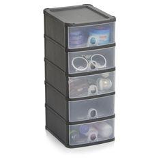 Etonnant Wilko Storage Unit Graphite Slim 5 Drawer