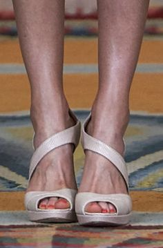 Magrit 'Vanessa' sandals in bespoke nude python. Debuted Jun 2015