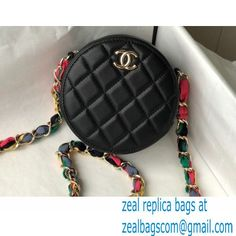 Chanel Ribbon Round Clutch with Chain Bag AP2055 Black 2021