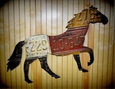 Retro Vintage Style Horse equine Figure Auto License Plate Tag Wall Folk Art