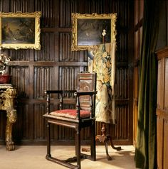 Anglesey Abbey, England. The little wooden chair (caquetoire) is a famous relic. Made in France c. 1600, it has been said since the 18th century to have belonged to Shakespeare. It was later owned by actor D. Garrick