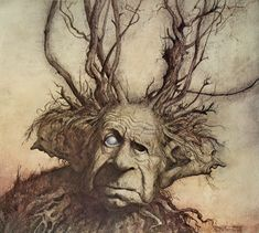 Brian Froud - Three Headed Man Fantasy illustration offered by Robert Funk Fine Art on InCollect Brian Froud, Forest Creatures, Magical Creatures, Fantasy Creatures, Fantasy Magic, Fantasy Art, Art And Illustration, Troll, Fairy Art