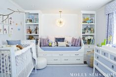 Molly Sims shares Baby Brooks blue nursery with our Chambray Border Frame Rug, Senegalese Baskets, Moroccan Pouf, Elephant Stool and more! on @lilsugar