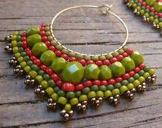 Hoop Earrings Tribal Earrings by DandasCollection, Safety Pin Earrings, Bar Stud Earrings, Tribal Earrings, Triangle Earrings, Moon Earrings, Seed Bead Earrings, Beaded Earrings, Geode Jewelry, Embroidery Jewelry