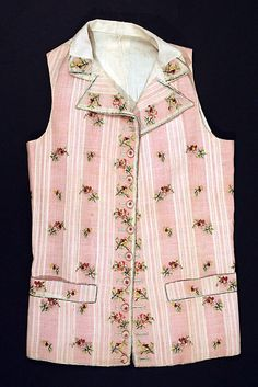 Waistcoat, ca. 1780 (although I have many reasons to believe that my unknown fabric is from a woman's dress, male fashion during the 1700's did include pinks and floral motifs...)
