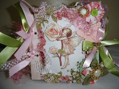 Shabby Pink Fairy paper bag Scrapbook Album pre made picture