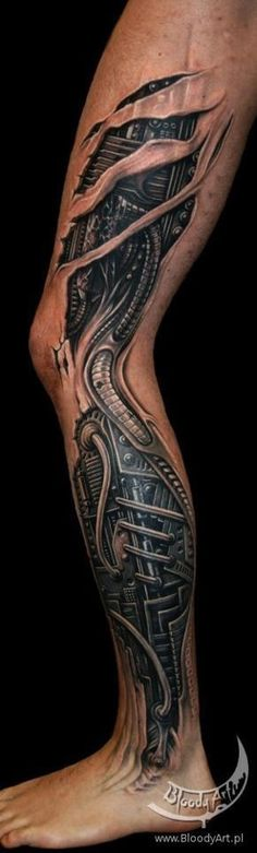 See more 3D mechanical leg tattoos on leg