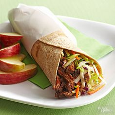 Shredded roast beef makes delicious leftovers you can savor all week. For these simple wraps, dress the meat in a dollop of tangy barbecue sauce, then roll it up with shredded cheese and crispy slaw.  Try It With: Sweet tea  /