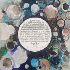 Celestial Bodies Ketubah Watercolor > Handmade Ketubah Planets and Stars design Watercolor Art Paintings, Minimalist Painting, Digital Text, Jewish Art, Star Designs, Woodblock Print, Some Pictures, Letterpress, Paper Cutting
