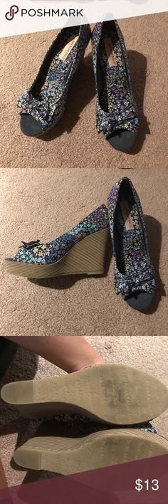 American Rag Floral Wedge Peep Toe Shoes So cute for spring summer!! Great condition! Only worn twice. No toe marks or scuffs. American Rag Shoes Wedges