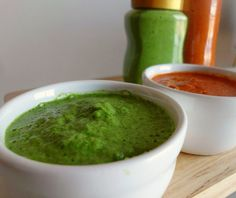 Recipe for Red and Green Canarian Mojo Sauces - spicy sauces made with peppers, herbs and spices. The perfect accompaniments for meat, fish and vegetables. Get the recipe here: http://pinkrecipebox.com/red-and-green-canarian-mojo-sauces/